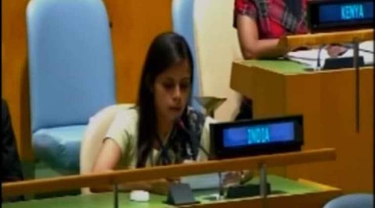 united nations, unga, eenam gambhir, india reply to nawaz sharif, nawaz sharif speech, eenam gambhir speech, eenam gambhir un, india news, un news