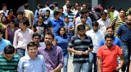 Candidates coming out after appearing in MD Entrance Exam of PGIMER at Shivalik Public School in Sector 41 one of the centres in Chandigarh on Sunday, May 18 2014. Express photo by Kshitij Mohan