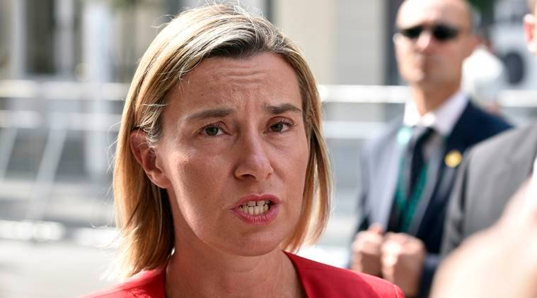 Federica Mogherini, foreign policy chief of the EU answers questions to media upon her arrival for the Informal Meeting of EU Foreign Ministers in Bratislava, Slovakia, Friday, Sept. 2, 2016. (AP Photo/Hans Punz)
