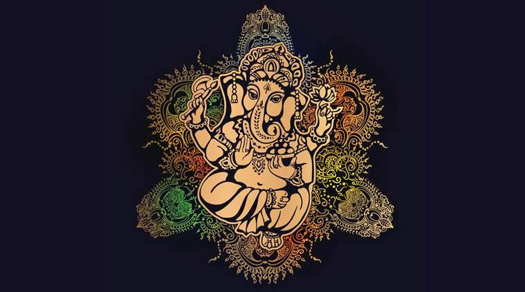 Hindu lord Ganesh against the background of the mandala with mehendi elements. Ganesh Puja. Ganesh Chaturthi. It is used for postcards, prints, textiles, tattoo.