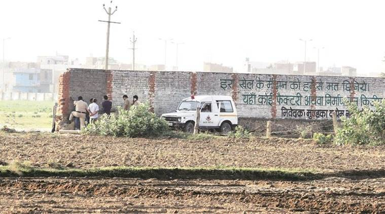 The spot where the incident took place, in Aman Vihar. Express photo