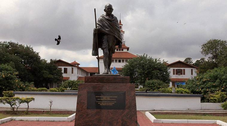 A statue of Indian independence leader Mahatma Gandhi in Accra, Ghana, Thursday, Sept. 22, 2016. Professors at a university in Ghana's capital are campaigning for the removal of a new statue of Indian independence leader Mahatma Gandhi. (AP Photo/Christian Thompson)(AP9_22_2016_000242B)