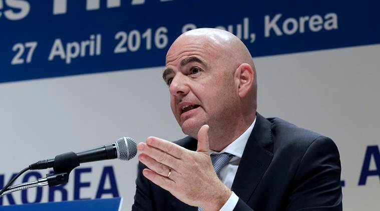 FILE - In this Wednesday, April 27, 2016 file photo, FIFA President Gianni Infantino speaks during a press conference in Seoul, South Korea. FIFA President Gianni Infantino has agreed an annual salary of 1.5 million Swiss francs (.53 million) with no bonus in 2016, seeking to end a distracting issue of his first six months in office. FIFA said Infantino will also receive a chauffeured car, his lodgings paid, plus monthly expenses of 2,000 Swiss francs (,040), in the contract agreed with a three-member compensation panel and signed Wednesday, Aug. 31, 2016. (AP Photo/Ahn Young-joon, file)