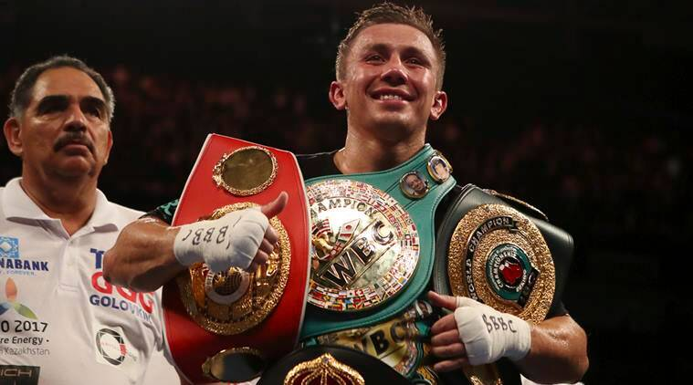 Gennady Golovkin celebrates his victory over Kell Brook during the WBC, IBF and IBO world middleweight boxing title bout. (Source: AP)