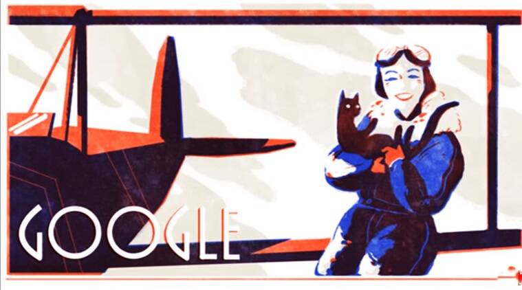 Gogle doodle, google doodle today, jean batten birthday, jean batten greta garbo of the skies, greta garbo jean batten, jean batten new zealand aviator, new zealand aviator jea batten birthday, indian express, indian express news