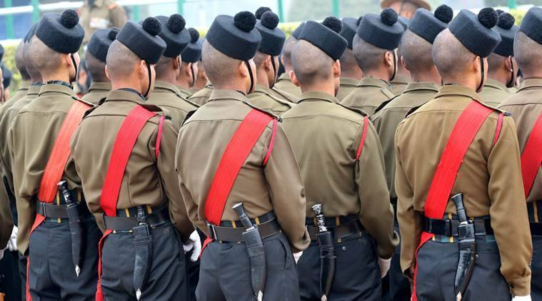 Gorkha regiment at the Republic day rehearsal at Rajpath in New Delhi on Jan 17th 2016. Express photo by Ravi Kanojia *** Local Caption *** Gorkha regiment at the Republic day rehearsal at Rajpath in New Delhi on Jan 17th 2016. Express photo by Ravi Kanojia