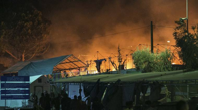 Europe, Greek island, Greek island fire, Lesbos, Lesbos fire, EU, migrant crisis, refugee crisis, refugees, migrants, Greece, Turkey, world news, latest news, Indian express