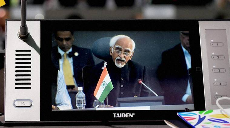 Margarita Island: Vice President M Hamid Ansari speaks during the 17th Summit of the Non Aligned Movement (NAM)  at Margarita Island in Venezuela on Saturday. PTI Photo by Shailendra Bhojak (PTI9_18_2016_000133A)