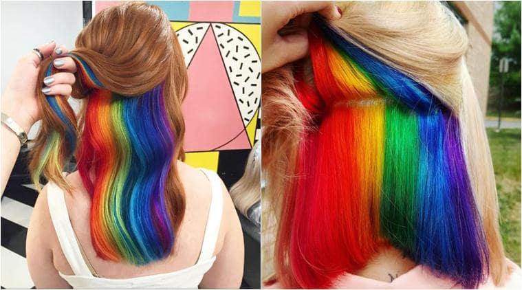 hair colour, hair colour trends, hidden rainbow hair, mermaid hair, rainbow hair, hair dye ideas, hair colour ideas, hair fashion trend, fashion, fashion trend, fashion news, latest news, lifestyle news, indian express