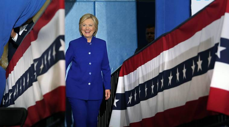 Democratic presidential candidate Hillary Clinton takes the stage during a campaign stop in Orlando, Fla., Wednesday, Sept. 21, 2016.  (Joe Burbank/Orlando Sentinel via AP)