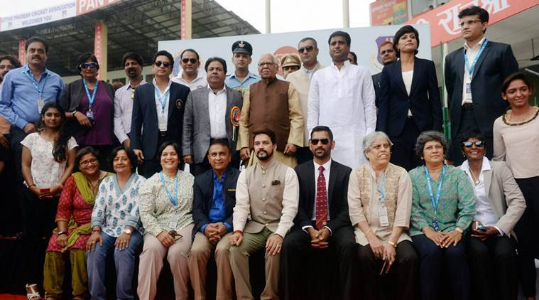 Kanpur: UP Governor Ram Naik poses for a group photograph along with former Indian Test cricket captains and other dignitaries on the occasion of India's 500th Test match against New Zealand at Green Park in Kanpur on Thursday. PTI Photo by Atul Yadav(PTI9_22_2016_000068B)