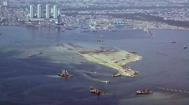 Indonesia, Jakarta, Jakarta sinking, Giant Sea Wall, Giant Sea Wall plan, artificial islands, Indonesian govt, Indonesia news, world news, latest news, Indian express