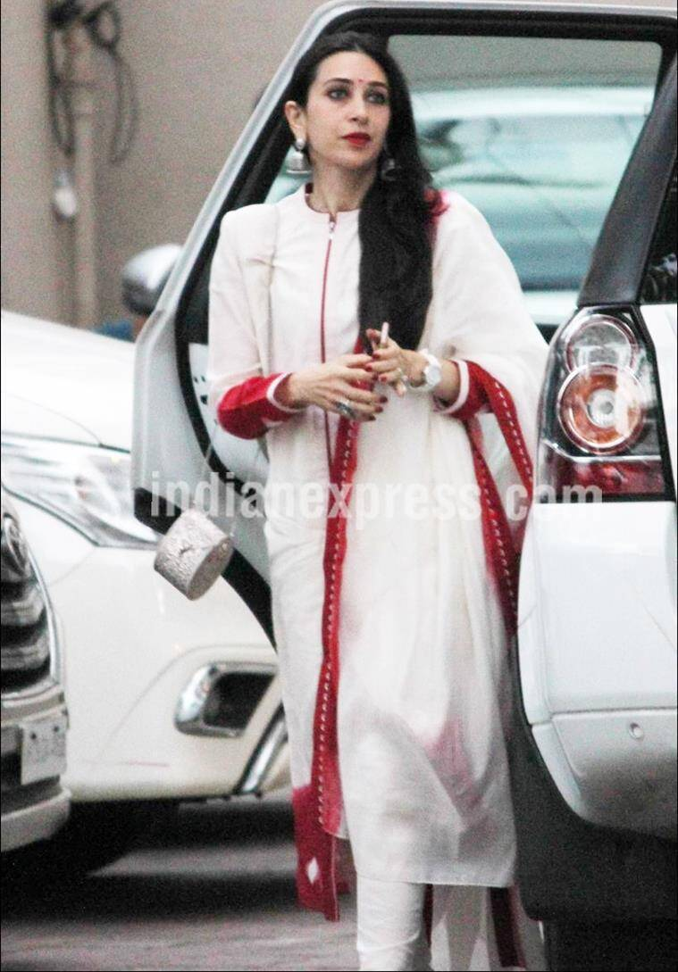 Karisma Kapoor in a white and red suit from AM:PM. (Source: Varinder Chawla)