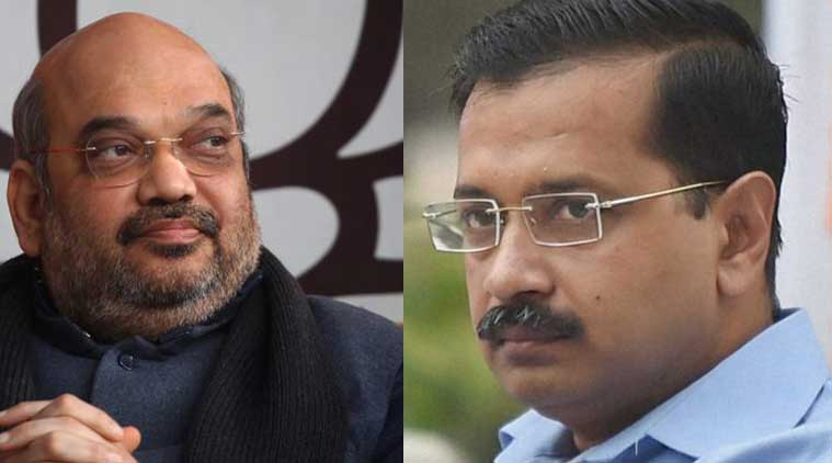 BJP chief Amit Shah and Delhi Chief Minister Arvind Kejriwal in this combination image.