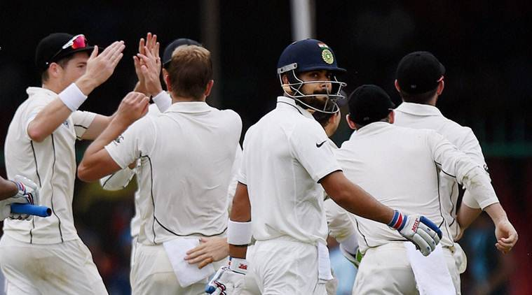 Kanpur: Indian captain Virat Kohli walks to the pavilion after being dismissed by Neil Wagner of New Zealand on the opening day of the first test match at Green Park in Kanpur on Thursday. PTI Photo by Atul Yadav (PTI9_22_2016_000089B)