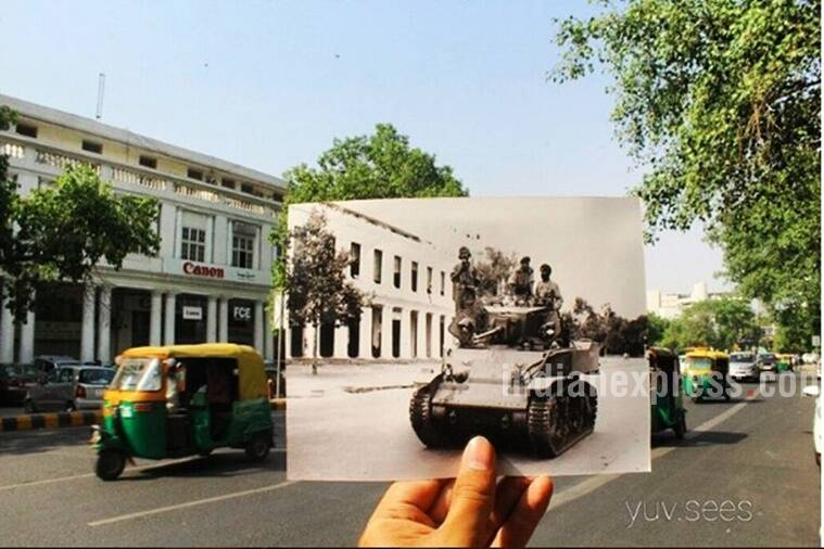 The tank in this photo was crossing Outer Circle,Connaught Place. (Source: yuv.sees/Instagram)