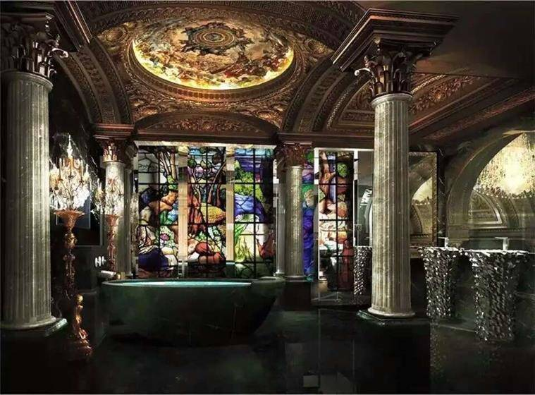 Roman baths can seat six-eight people under a vaulted baroque ceiling and crystal chandelier. (Source: Facebook/The 13 Hotel Macau)