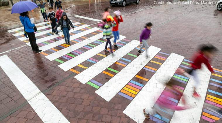 zebra crossing, zebra crossing art, colourful zebra crossing, Christo Guelov, madrid, spain, spain crossroads, colourful crossroad, arts news, spain news, latest news