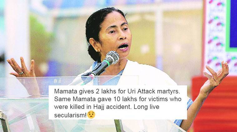 Mamata Banerjee draws flak on social media for announcing compensation of Rs 2 lakh for Uri martyrs