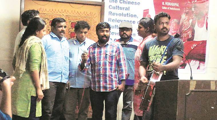 Activists perform protest songs during the programme to remember Maoist Sridhar Srinivasan in Mumbai on Friday.