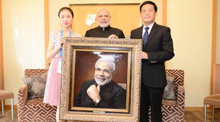 Modi painting, Chinese translation, India text China, Narendra modi, Modi, China India, G20 summit, world news, news, India news, latest news, national news, Modi visit, Modi China, India China,