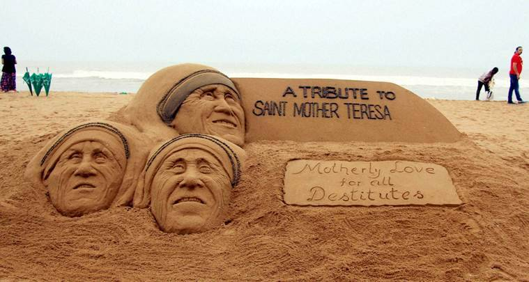 Puri: A sand scupture on Mother Teresa on the eve of canonisation for her service to mankind , at Puri beach of Odisha on Saturday. PTI Photo