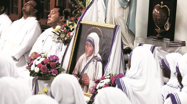 Nuns of Missionaries of Charity attend a special mass at Mother house in Kolkata on Sunday. Express Photo by Partha Paul
