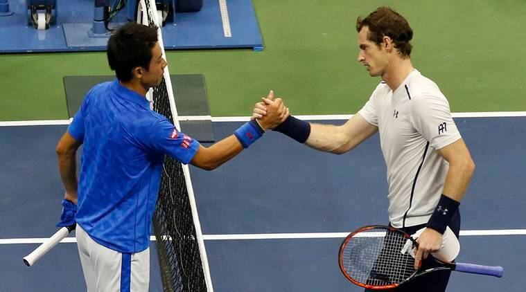 Kei Nishikori, of Japan, left, shakes hands with Andy Murray, of the United Kingdom, after defeating him during the quarterfinals of the U.S. Open tennis tournament, Wednesday, Sept. 7, 2016, in New York. (AP Photo/Kathy Willens)