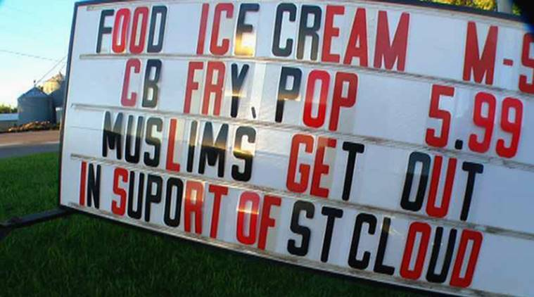 Dan Ruedinger, treats family restaurant, ismophobic sign board, signboard against muslims, Muslims get out, US mosques, mosque, world news