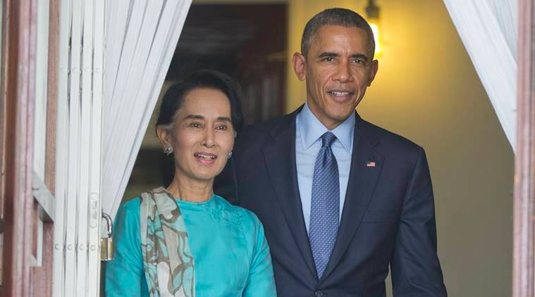 Barack Obama, Obama, Suu Kyi, Myanmar, Obama In Myanmar, Barack Obama Myanmar visit, US, US-Myanmar, economic sanctions, Aung san Suu Kyi, Suu Kyi, Myanmar, Myanmar sanctions, Myanmar Sanctions lifted, US sanctions on Myanmar, Myanmar US sanctions, Myanmar US sanctions lifted, Myanmar news,Washington news, world news, indian express news