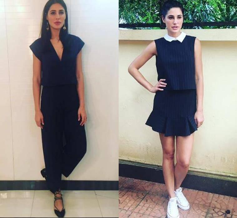 Nargis Fakhri in Shift by Nimish Shah navy blue jumpsuit (L) and a dress by BCBG Max Azria. (Source: Instagram/Nargis Fakhri)