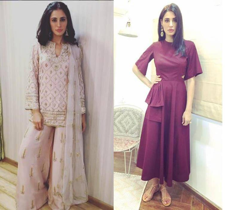 Nargis Fakhri in a Payal Singhal sharara (L) and Manika Nanda cut-out dress. (Source: Instagram/Nargis Fakhri)