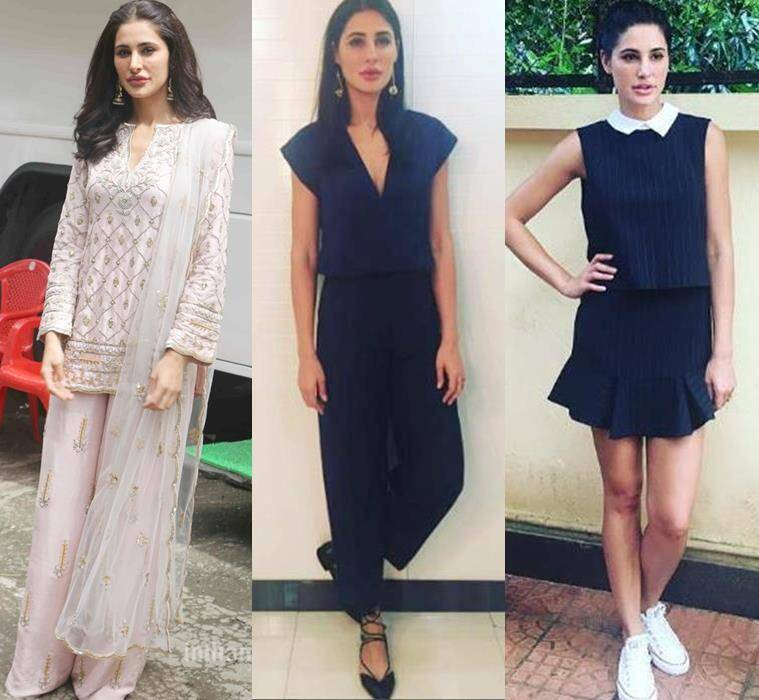 Nargis Fakhri in Payal Singhal sharara, Shift by Nimish Shah navy blue jumpsuit and a peppy schoolgirl dress by BCBG Max Azria.