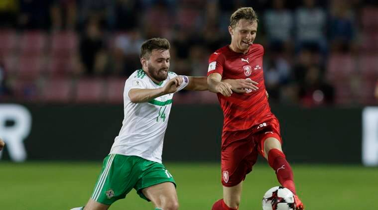 world cup 2018, world cup 2018 qualifiers, fifa world cup, fifa world cup qualifiers, northern ireland czech republic, northern ireland football team, czech republic, fifa world cup, world cup news, football news, sports newsern Ireland - 2018 World Cup Qualifying European Zone - Group C - Generali Arena, Prague, Czech Republic - 4/9/16 Northern Ireland's Stuart Dallas in action with Czech Republic's Ladislav Krejci Action Images via Reuters / David W Cerny Livepic EDITORIAL USE ONLY.