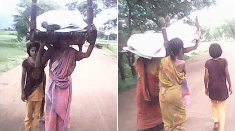 Daughters carry mother's dead body in Odisha's Kalahandi. Express photo