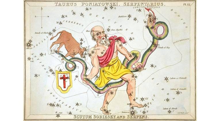 Ophiuchus holding the serpent, Serpens, as depicted in Urania's Mirror, a set of constellation cards published in London c. 1825. Above the tail of the serpent is the now-obsolete constellation Taurus Poniatovii while below it is Scutum. (Source: Wikimedia commons)