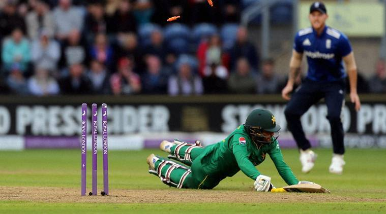 Cardiff : Pakistan's Mohammad Narwaz is run out by England's Jonny Bairstow during the fifth One Day International test cricket match between England and Pakistan at the SSE SWALEC Stadium, Cardiff, Wales, Sunday, Sept, 4, 2016. AP/PTI(AP9_5_2016_000004A)
