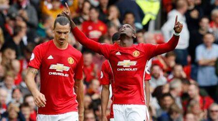 United thrash Leicester 4-1, Pogba scores his first