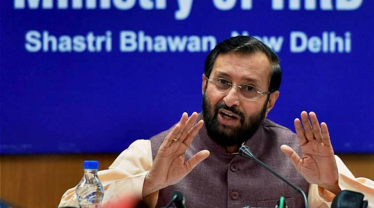 New Delhi: Union HRD Minister Prakash Javadekar addresses media after a cabinet meeting in New Delhi on Monday. PTI Photo by Shahbaz Khan(PTI9_12_2016_000072B)