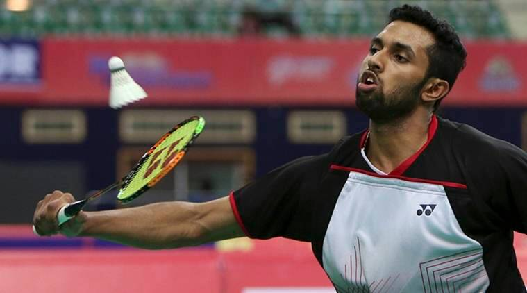 India's H.S Prannoy plays against China's Shi Yuqi during their men's singles event of Badminton Asia Team Championships in Hyderabad, India, Thursday, Feb. 18, 2016. Prannoy won the match by 21-14, 21-10. (AP Photo/Mahesh Kumar A.)