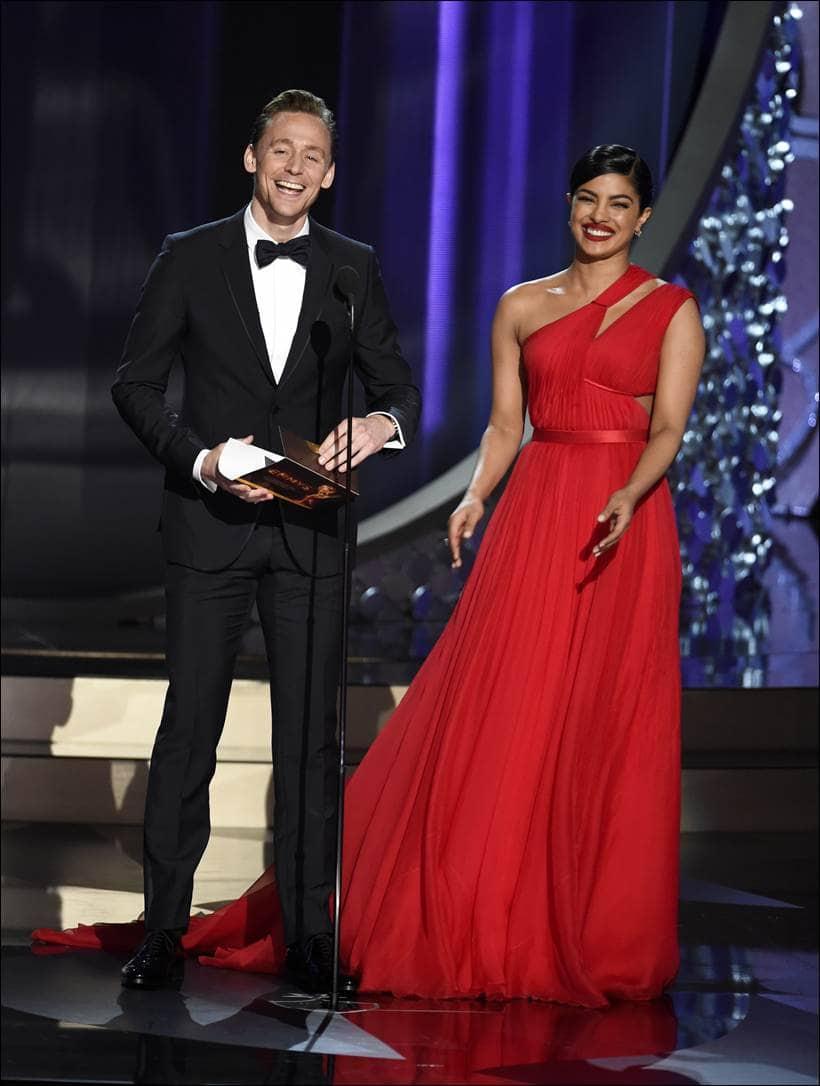 Emmys, 68th Emmy Awards, Emmy 2016, Priyanka Chopra, emmy with Priyanka Chopra, Priyanka Chopra emmy, Priyanka, Priyanka Chopra dress, Tom Hiddleston