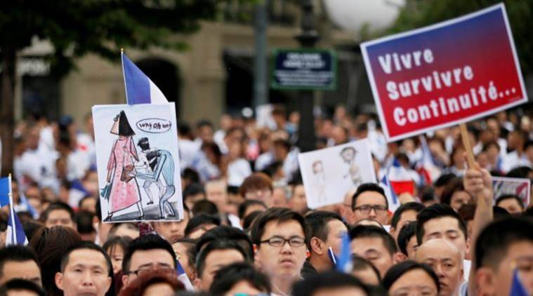 France, Chinese man attacked, Paris mugging, France protest, Aubervilliers, Chinese community, France news, world news, indian express