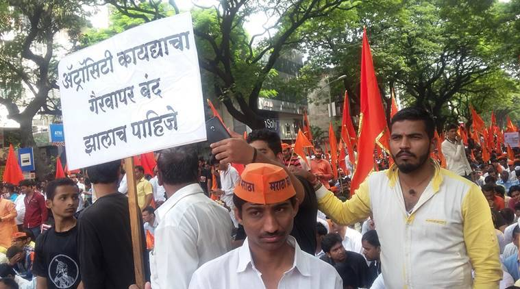 At sharp 10.30 the Maratha Kranti Morcha took off from Deccan area of Pune city on Sunday. Lakhs of Puneites from nook and corner of Pune district are participating in the silent march demanding amendment to Atrocity Act, reservation for Maratha community and death penalty for accused in Kopardi rape and murder case. Express Photo by Manoj More.