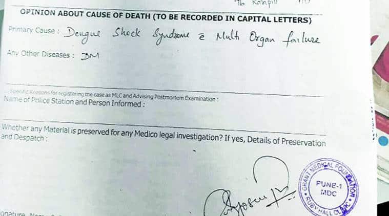 Pune, dengue shock syndrome, dengue, shock, man dies, death, dengue death, india news, indian express