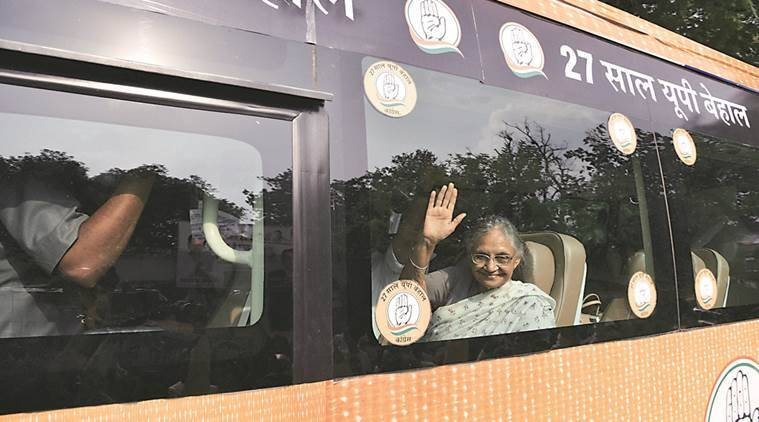 Sheila Dikshit, CM candidate of Congress in Uttar Pradesh, begins her three-day bus tour from Varanasi on Saturday. PTI
