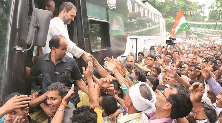uttar pradesh elections 2017, up polls, rahul gandhi, rahul gandhi rally, khaat sabha, cot rally, rahul gandhi khaat rally, congress, congress campaign, vijay mallya, game of khaat, nda government, modi government, indian express news , india news