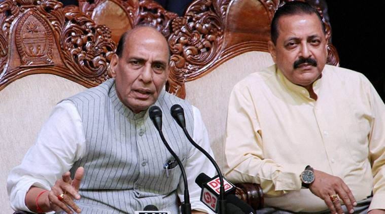 Jammu: Union Home Minister Rajnath Singh with Minister of State in PMO Jitendra Singh at a press conference in Jammu on Monday. PTI Photo (PTI9_5_2016_000201B) *** Local Caption ***