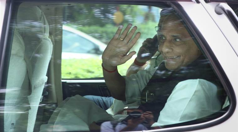 New Delhi: Union Home Minister Rajnath Singh returning from 7 Race course, after a meeting with Prime Minister Narendra Modi, in New Delhi on Tuesday. PTI Photo by Shahbaz Khan (PTI9_6_2016_000052B)