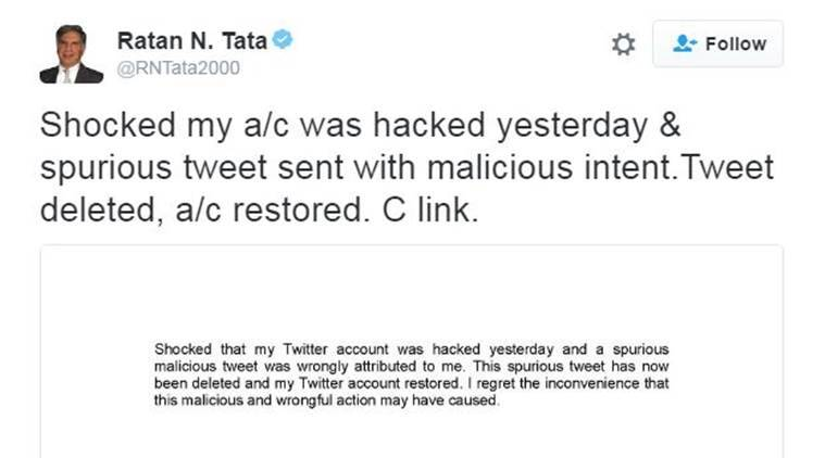 Ratan Tata, Ratan Tata twitter, ratan tata twitter account hacked, news, trai chairman, twitter hacked, indian express news