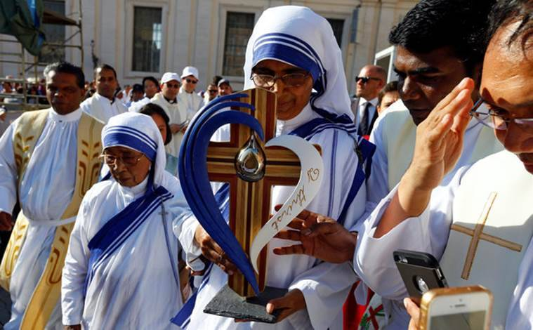 The relics of Saint Teresa of Calcutta being presented at the canonisation ceremony in St Peter's Square, Vatican City. Reuters